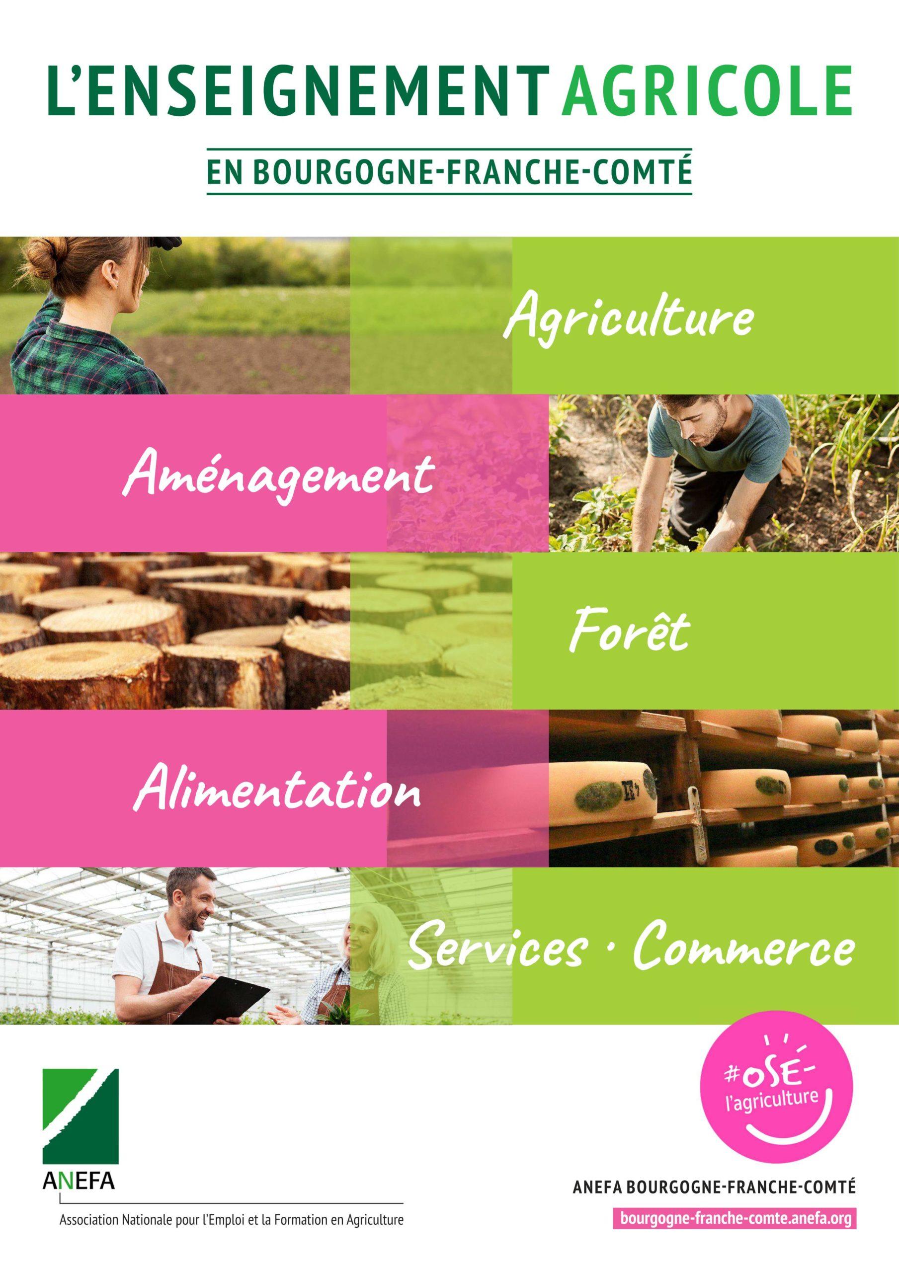 Plaquette des formations de l'enseignement agricole de Bourgogne-Franche-Comté